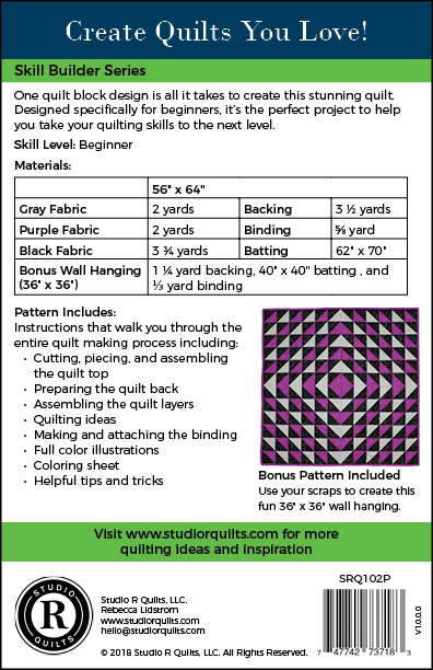 SRQ Diamond Daze Quilt Pattern Cover Back
