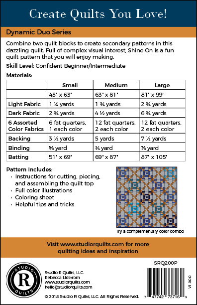 SRQ Shine On Quilt Pattern Cover Back
