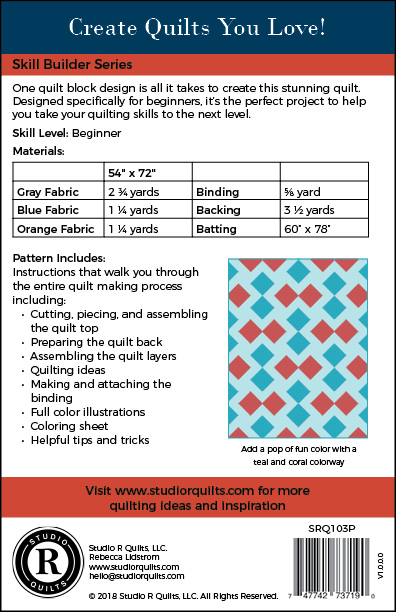 SRQ Two Step Quilt Pattern Cover Back