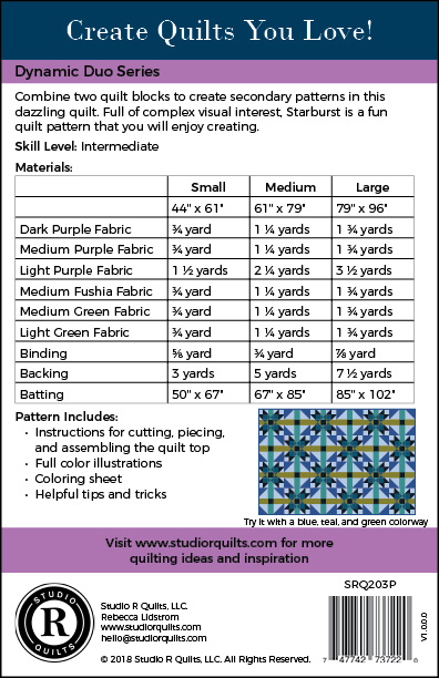 SRQ Starburst Quilt Pattern Cover Back