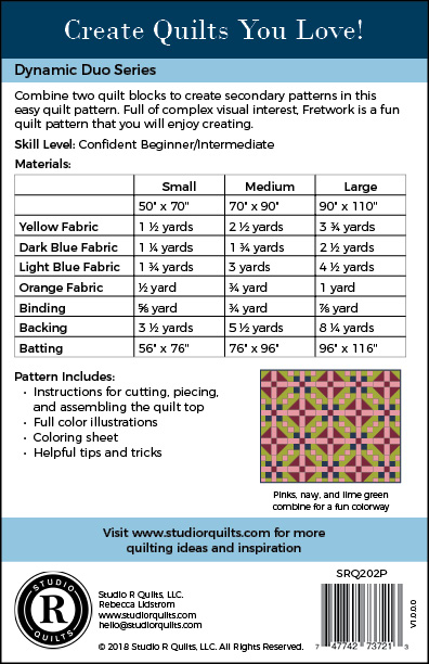 SRQ Fretwork Quilt Pattern Cover Back