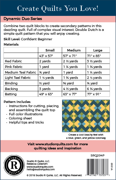 SRQ Double Dutch Quilt Pattern Cover Back