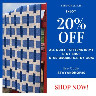 20% Off Patterns In Studio R Quilts Etsy Shop