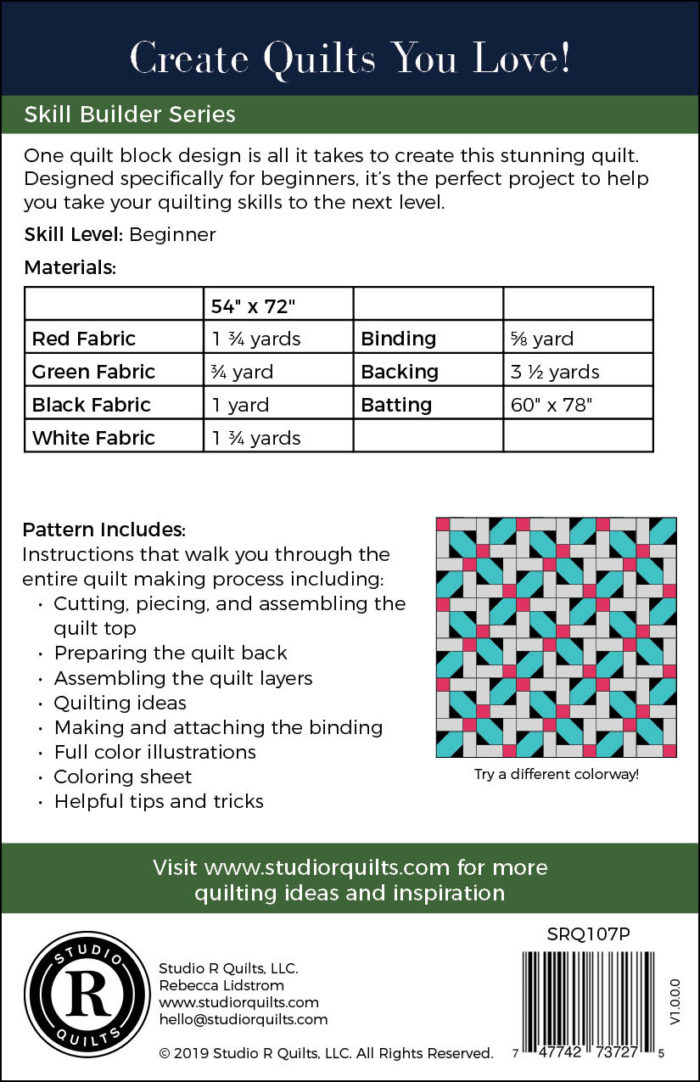 Dream Weaver Quilt Pattern Back Cover