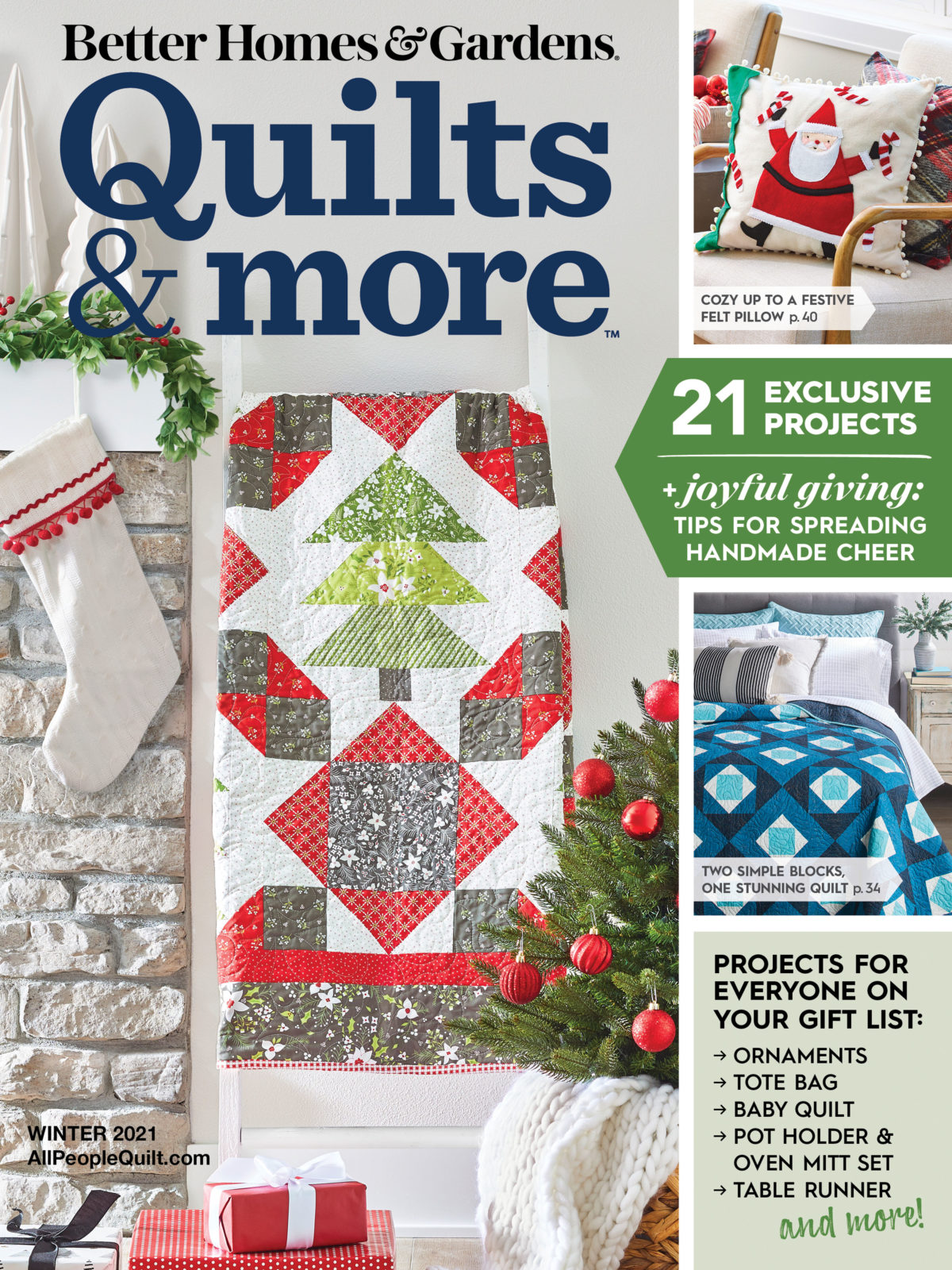 Winter Frost Quilt, Quilts & More Magazine Cover Winter 2021 Issue