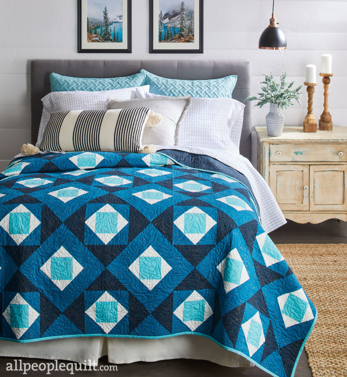 Winter Frost Quilt, Styled on Bed, Quilts & More Magazine Winter 2021 Issue