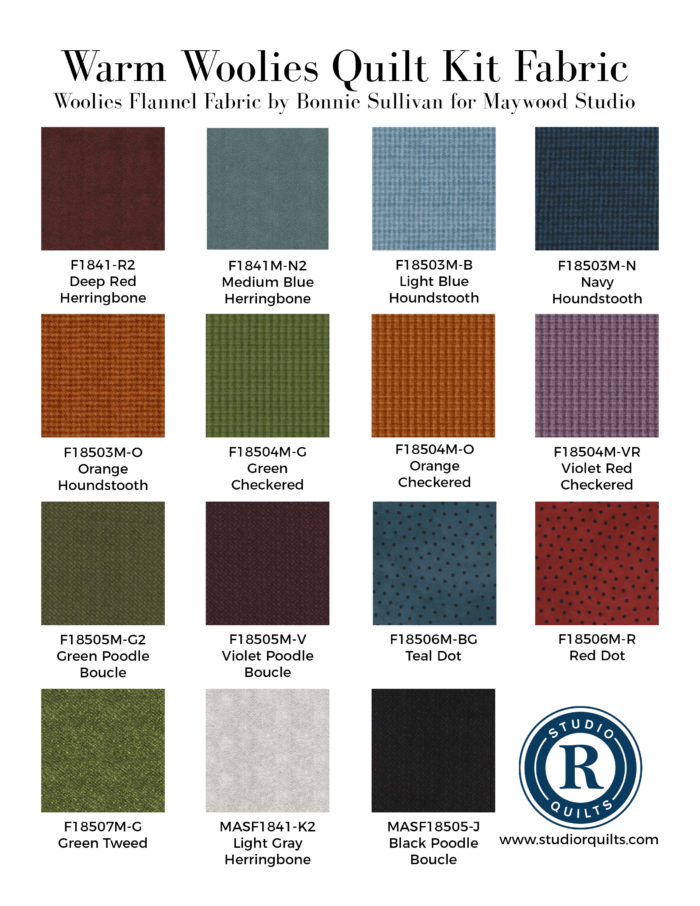 Warm Woolies Kit Fabrics List