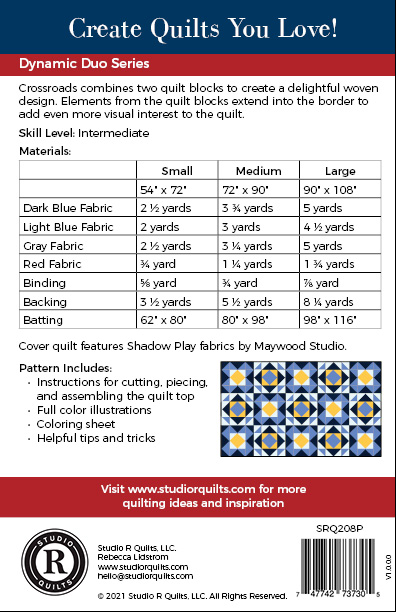 SRQ Crossroads Quilt Pattern Back Cover